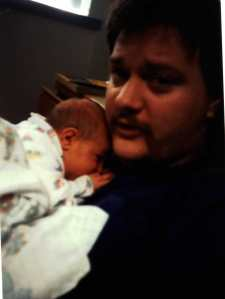 Ashe and our son, Max, when Max was 3 days old, May 23, 1992