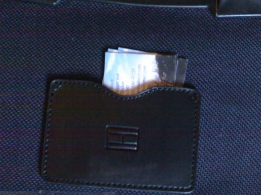 bus cards in suitcase