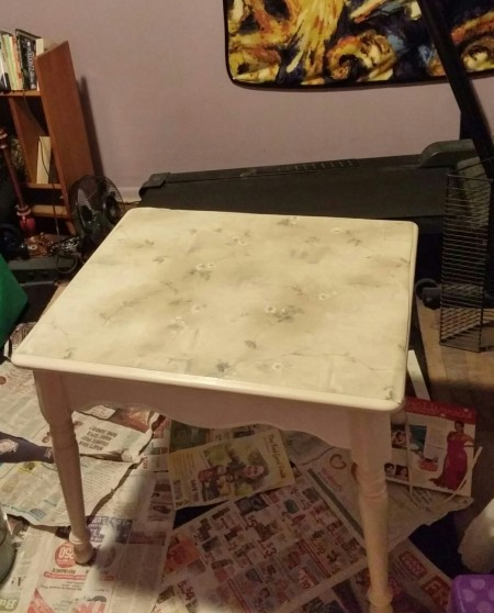 DECOUPAGED ANTIQUE END TABLE WITH QUEEN ANNE LEGS